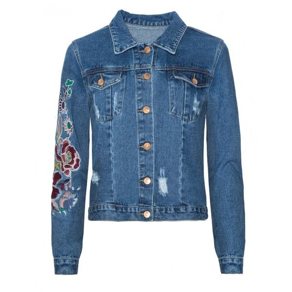 Floral Embroidered Denim Jacket (€72) ❤ liked on Polyvore featuring outerwear, jackets, blue jean jacket, pocket jacket, blue jackets, jean jacket and denim jacket