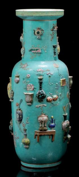 large vase shape to baslustre turquoise background decorated in relief vases and precious. Black Bedroom Furniture Sets. Home Design Ideas