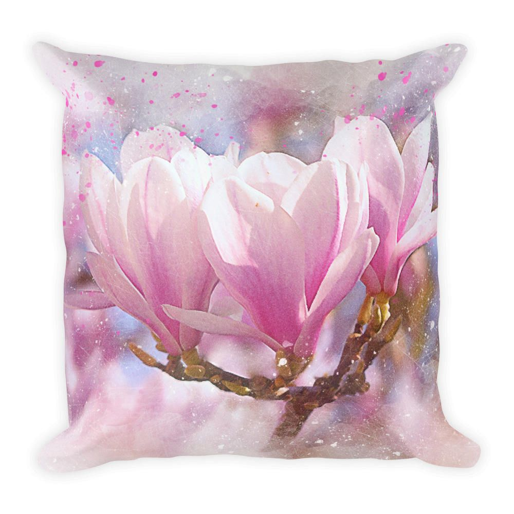 Pink Magnolia Art Best Pillow Gifts 18x18 Throw Pillow With