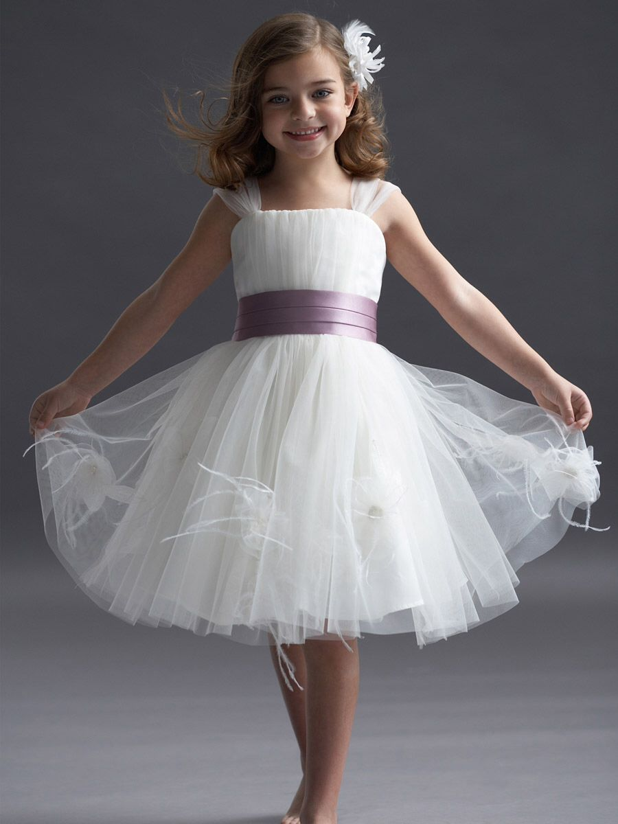This Is A Lovely Dress With A Lavender Strip On The Waist Flower