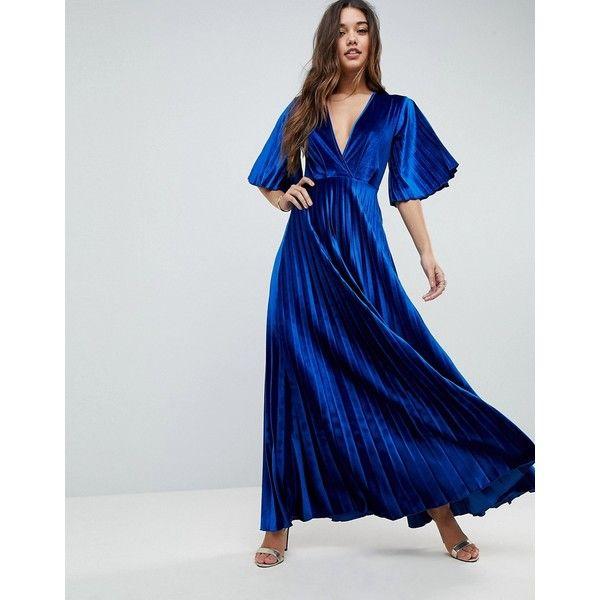 ASOS Pleated Velvet Kimono Maxi Dress ($84) ❤ liked on Polyvore ...