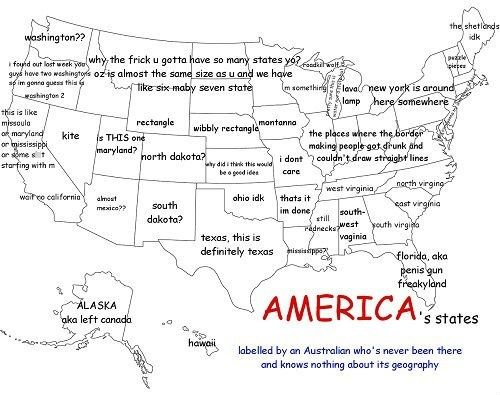 America (as Labeled by an Australian) | Funny maps, Humor, Funny