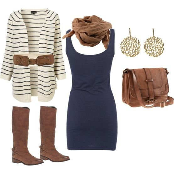 A Striped Cardigan, a Navy Dress, Brown Boots, Bag, and Scarf, Accessorized with Gold Earrings