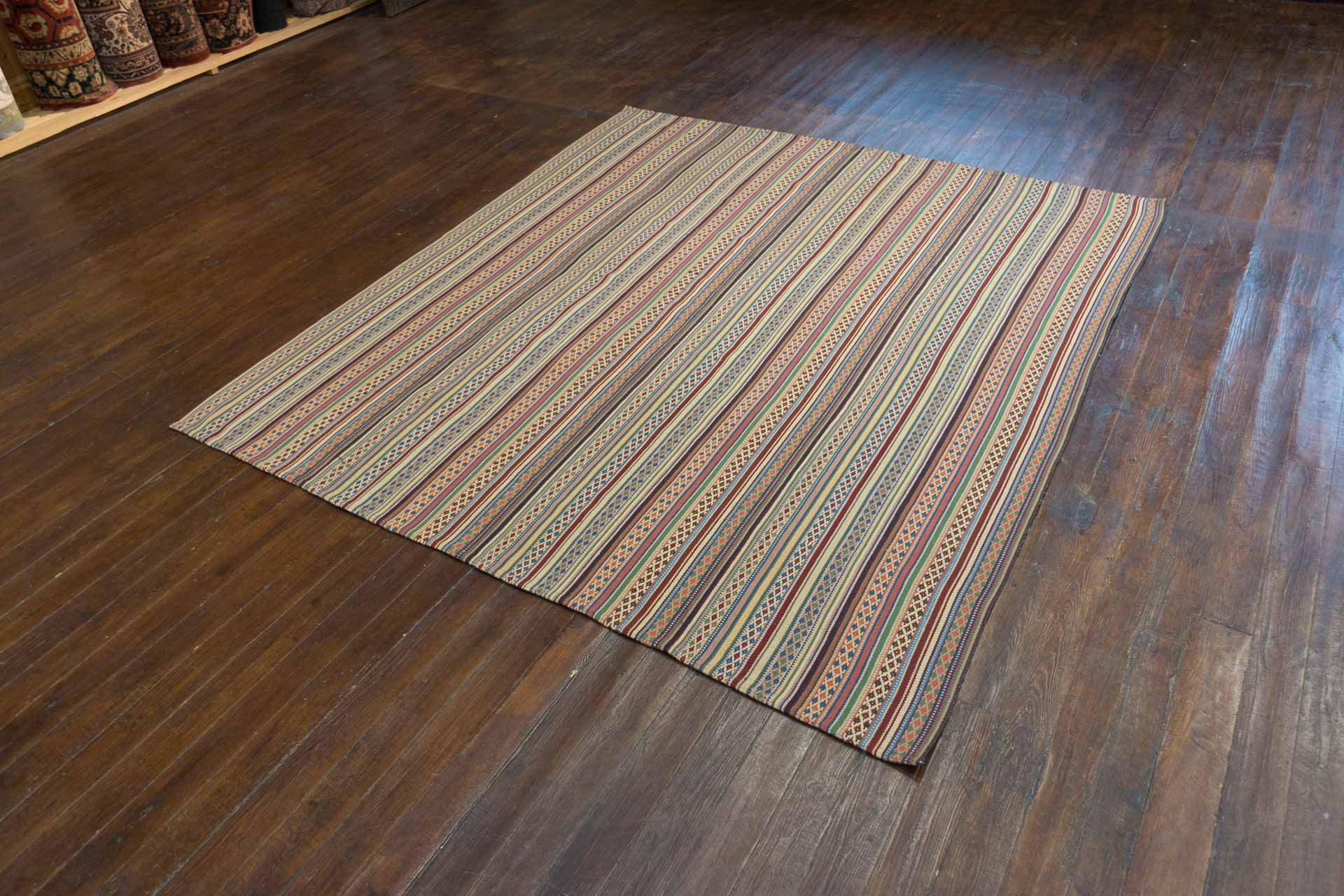 Hand Woven Jajim Kilim from Iran (Persian). Length: 221.0cm by Width: 192.0cm. Only £379 at https://www.olneyrugs.co.uk/shop/kilims-for-sale/persian-jajim-21088.html    Buy one of our gorgeous variety of Kazak rugs, kilim foot stools and Kilim cushions at www.olneyrugs.co.uk