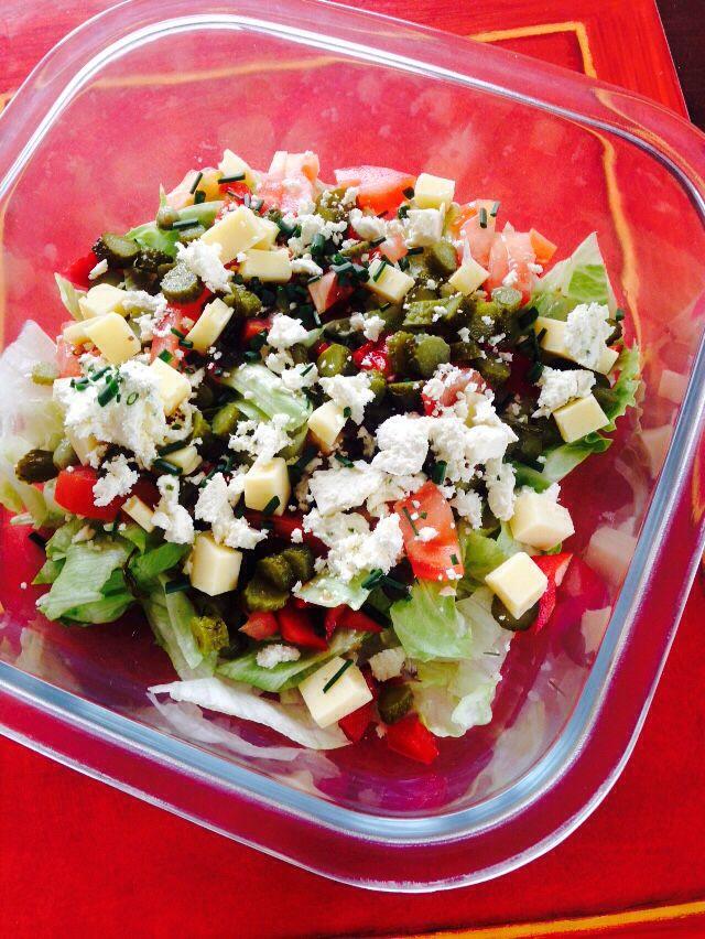 Feta,capsicum and tomato salad