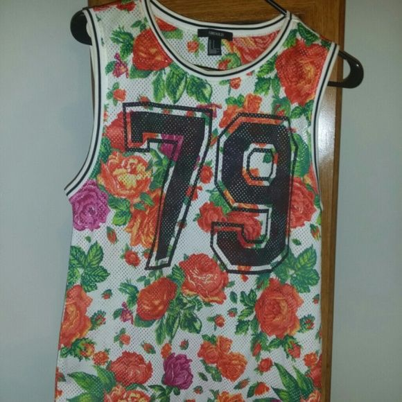 Forever 21 flower jersey Multicolor forever 21 flower jersey Forever 21 Tops Muscle Tees
