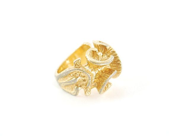 Vintage Cocktail Ring Big Chunky Gold Ring Bold Ring