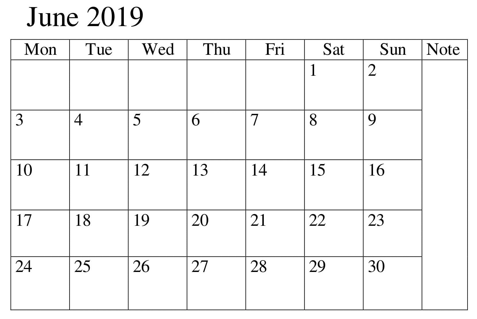 Calendar June 2019 Template Excel June June2019