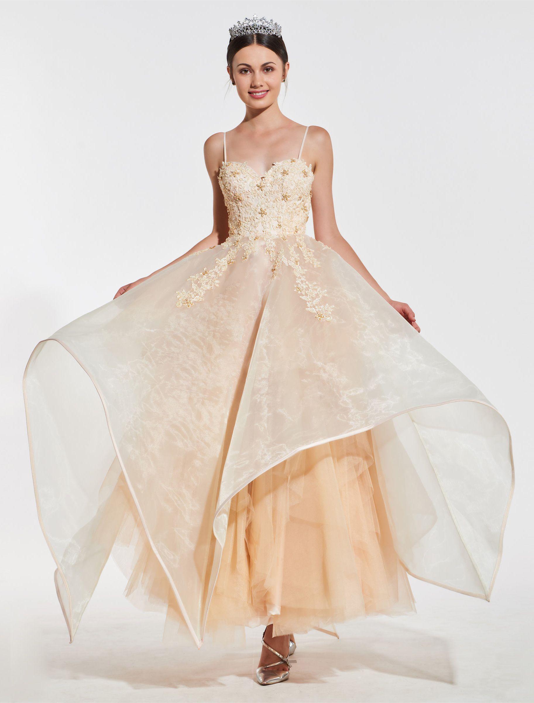 Beaded spaghetti strap wedding dresses  Spaghetti Straps Appliques Beading Quinceanera Dress  Dresses