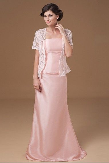 Chiffon Strapless Sweep Train Sheath Mother Of The Bride Dress with Ruffle and Jacket - Alice Bridal
