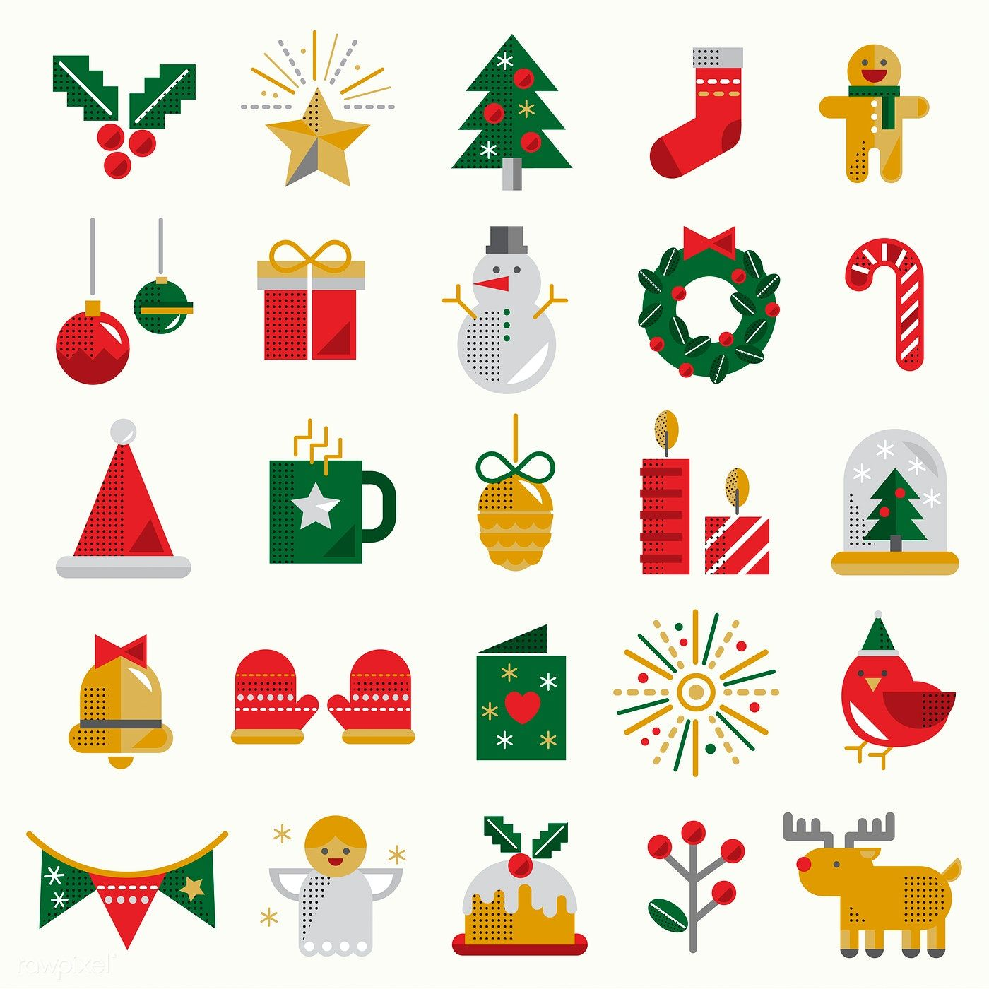 Set Of Christmas Symbol Vectors Free Image By Rawpixel Com