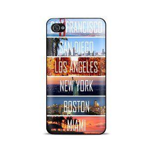 US Cities New York Miami Los Angeles Coque telephone Case pour ...