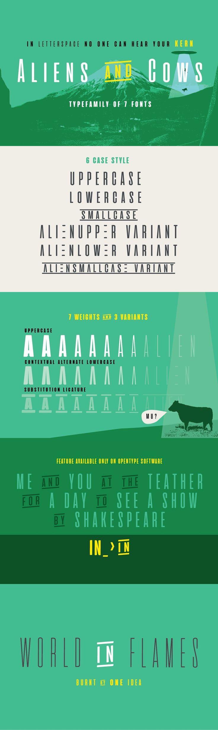 Aliens and cows fonts pinterest aliens sans serif and cow aliens and cows aliens and cows is an ultra condensed sans serif display typeface designed by francesco c altavistaventures Gallery