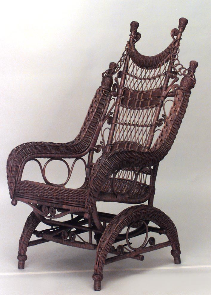 Fine American Victorian Natural Wicker Ornate High Back Platform Spiritservingveterans Wood Chair Design Ideas Spiritservingveteransorg
