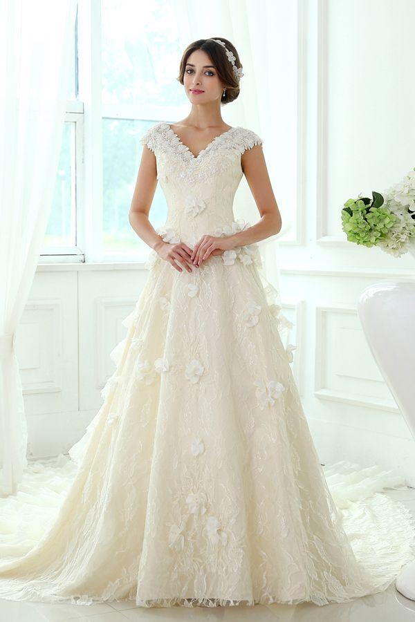 Princess Modest Lace Chapel Train Wedding Dress