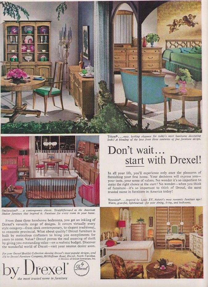 1960s drexel furniture dining room bedroom set ad retro vintage rh pinterest com