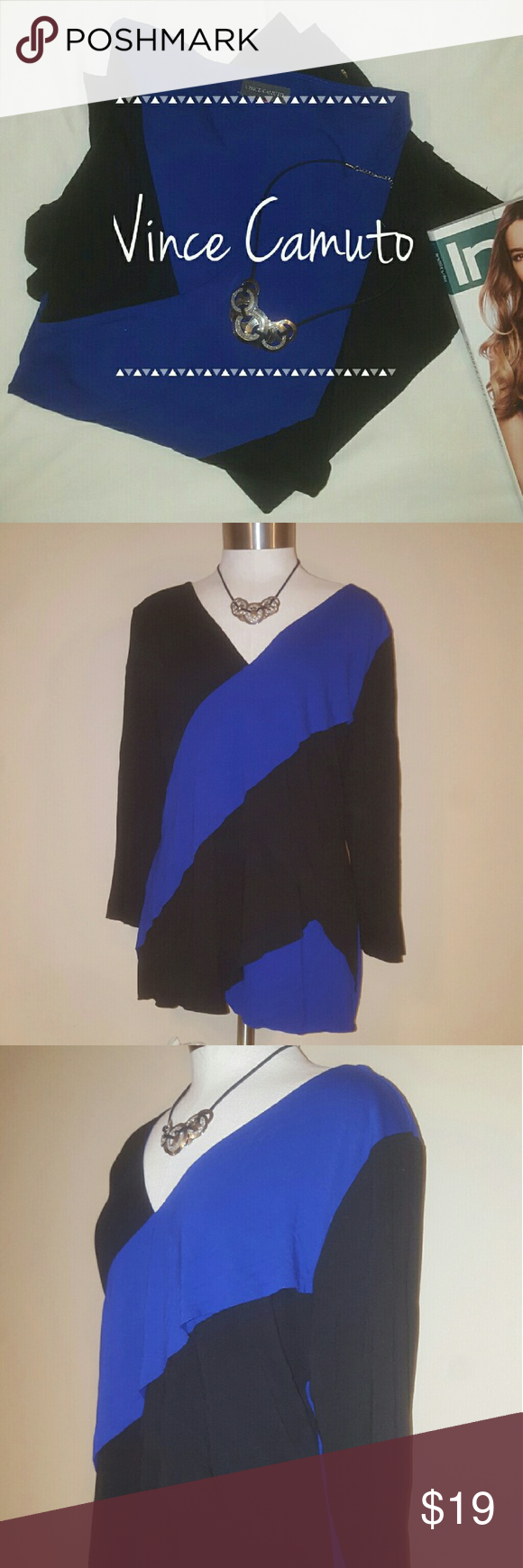 Flattering Vince Camuto Blouse Layered/tiered Blue and black blouse Size tag is missing however it fits like an XL Vince Camuto Tops Blouses