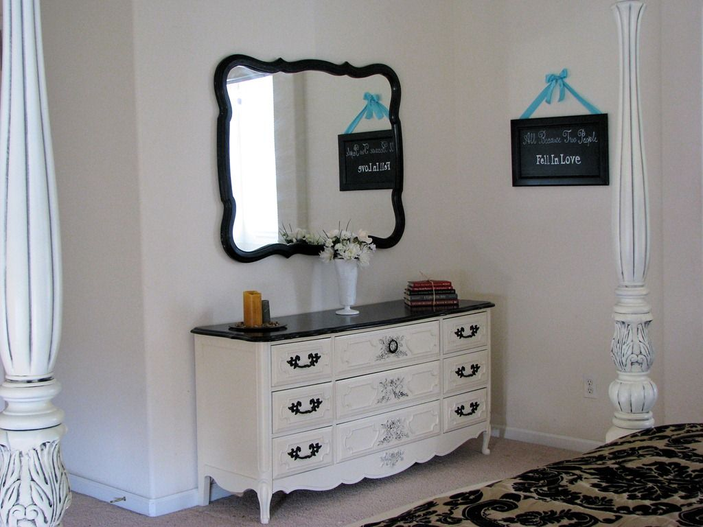 Old Dresser Makeover Design Made From Reclaimed Wood Painted With White  Color And 9 Drawer With Black Metal Handle And Wooden Top Under Wall Mirror  Ideas, ...