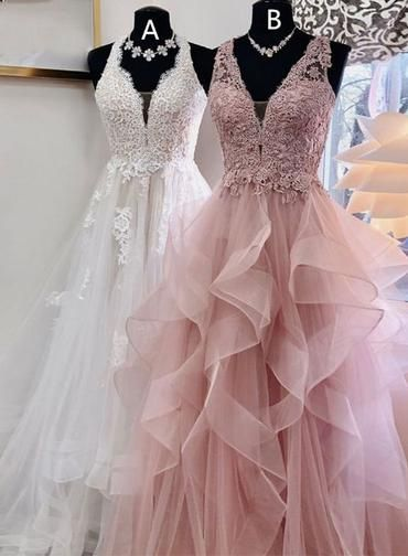 Unique Lace V Neck Ruffles Long Evening Dress, Prom Dress from Sweetheart Dress – prom