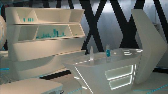 futuristic interior design, restaurant, futuristic furniture