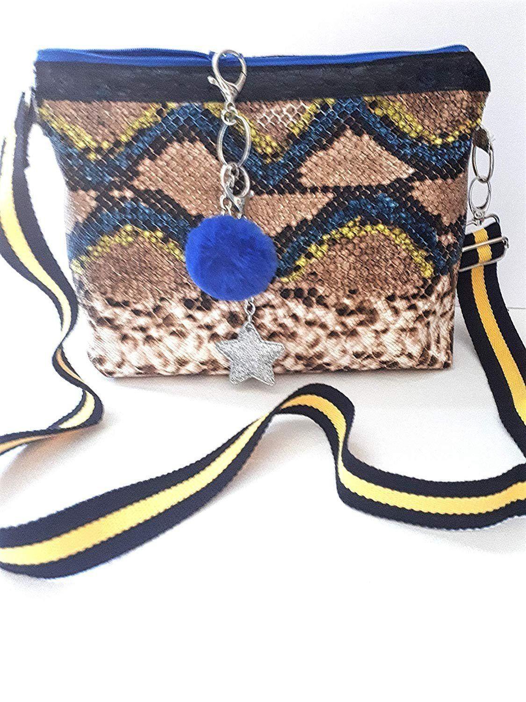 bf940dd212 Sac bandoulière réglable simili cuir imitation serpent, sac besace taupe  bleu jaune, sac à