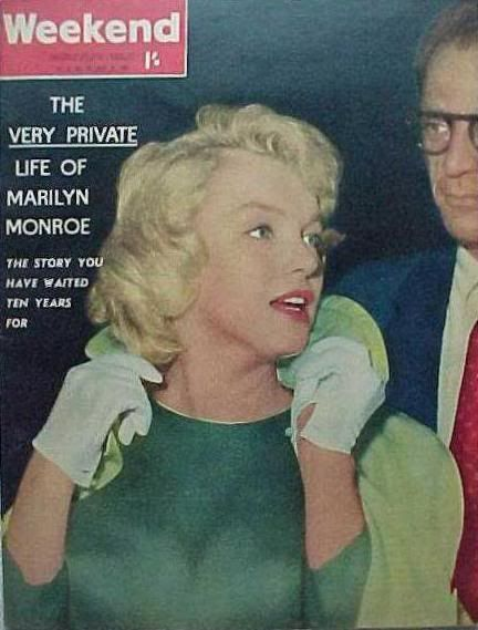 "Weekend - April 1960, magazine from Australia. Front cover photo of Marilyn Monroe with then-husband, Arthur Miller, on their arrival in London, where Marilyn would film ""The Prince and The Showgirl"", 1956."