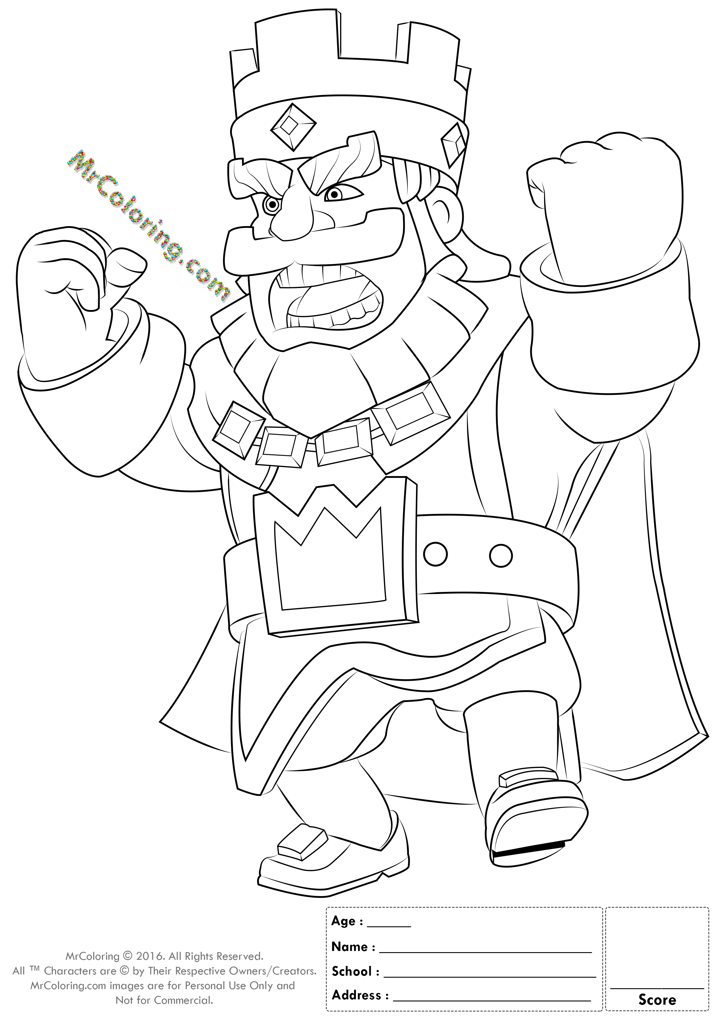 Online coloring pages - Printable Red King Clash Royale Online Coloring Pages 1