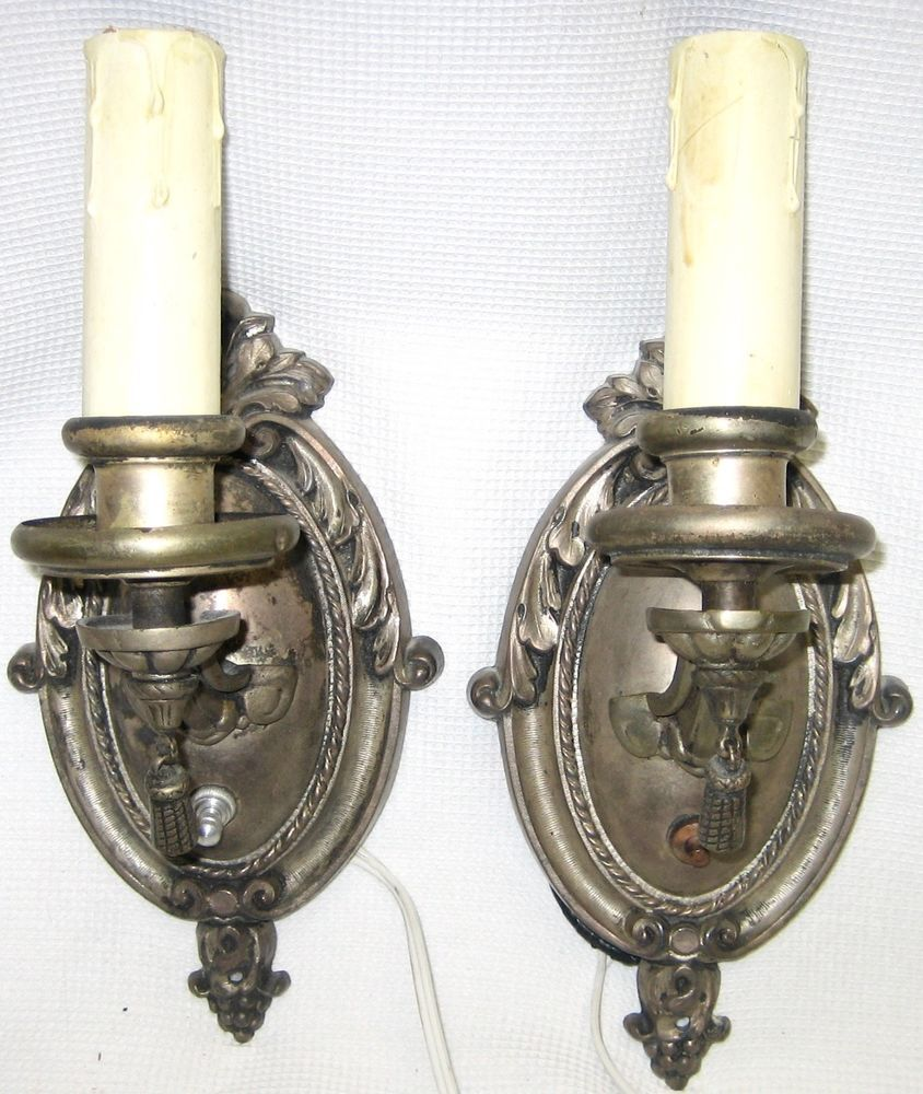 Pair of Vtg Estate Candle Wall Sconces Electric Lights ... on Silver Wall Sconces For Candles id=20971