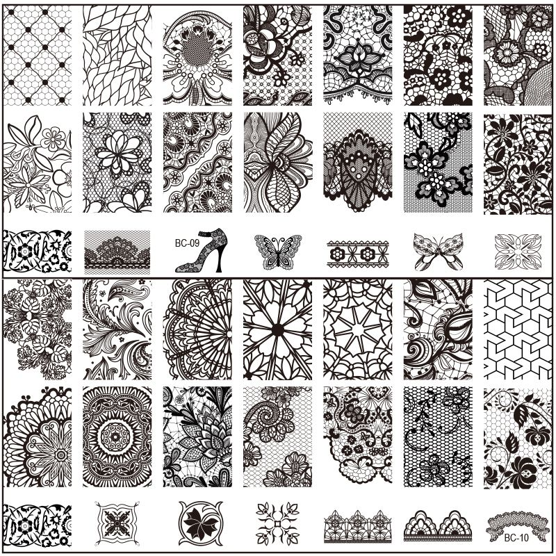 New black flower lace 10pcslot 612cm nail stamping plates konad cheap nail stamp tool buy quality stamp tool directly from china nail plate suppliers new black flower lace nail plates konad stamping nail art manicure prinsesfo Gallery