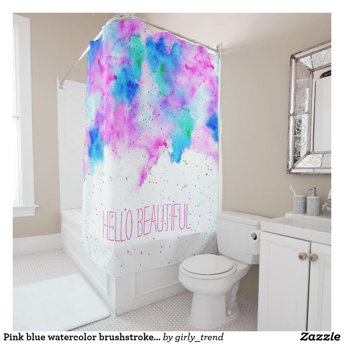 Pink Blue Watercolor Brushstrokes Splatters Custom Shower Curtain