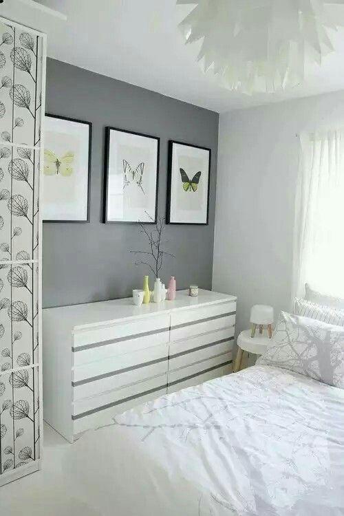 Hanging pictures  Ikea Bedroom DecorWhite Bedroom FurnitureSpare Bedroom  IdeasBedroom InspoSpare RoomSmall ...