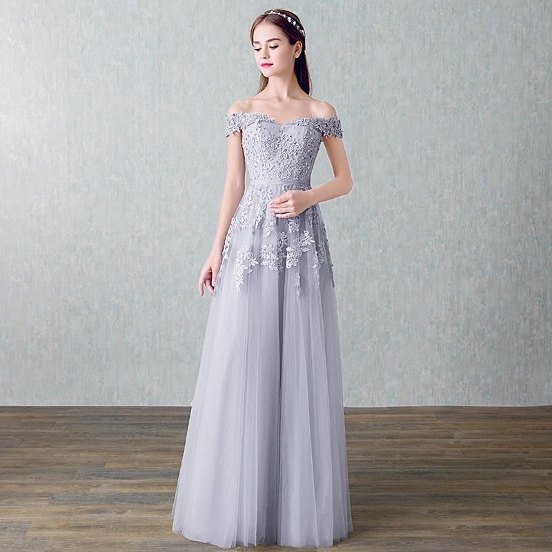 fded63393 Off Shoulder Embellished Tulle Prom Dress. Women Beading Long Evening  Dresses Elegant Lace Boat Neck Banquet Sexy Formal Party Gown