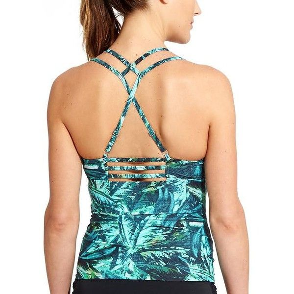 Athleta Women Napali Cross Strap Tankini Size L ($64) ❤ liked on Polyvore featuring tops, electric jade, print top, athleta and pattern tops