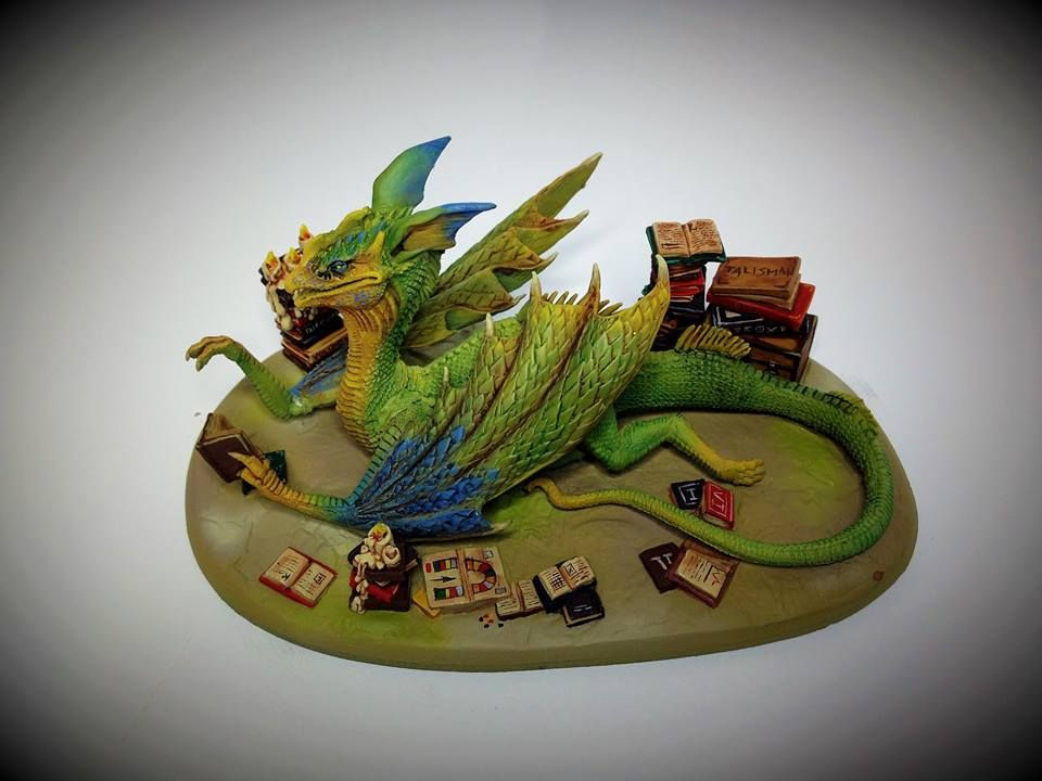 Book wyrm with images miniature painting