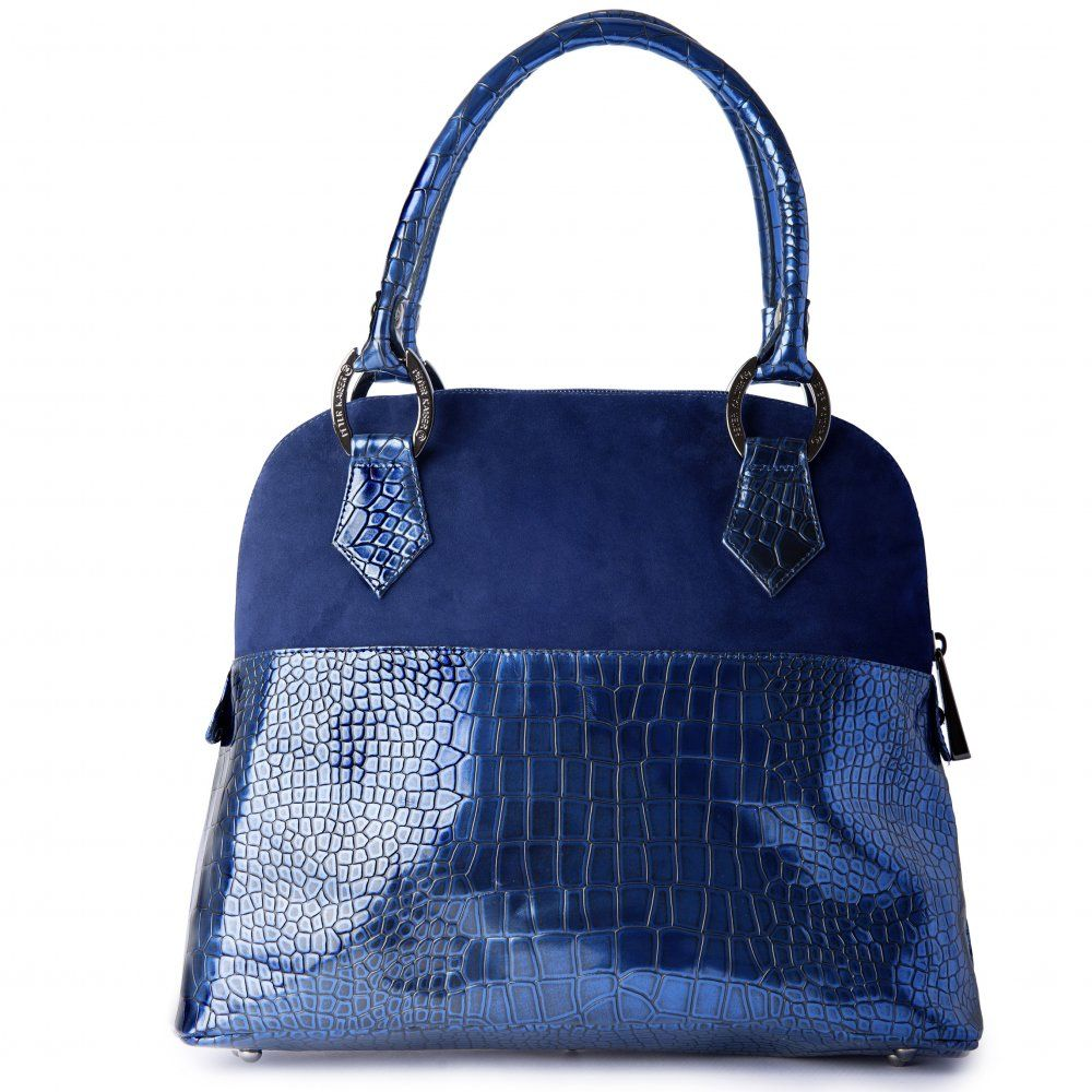 762e8e4ce2ec Peter Kaiser Anna notte navy lago suede and leather handbag - designer  handbag in crocodile effect metallic blue leather and navy blue suede combo