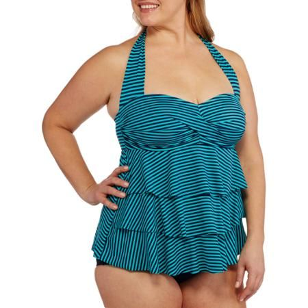 105e9566cad Suddenly Slim By Catalina Women s Plus-Size Retro Ruffled Slimming  One-Piece Swimsuit - Walmart.com