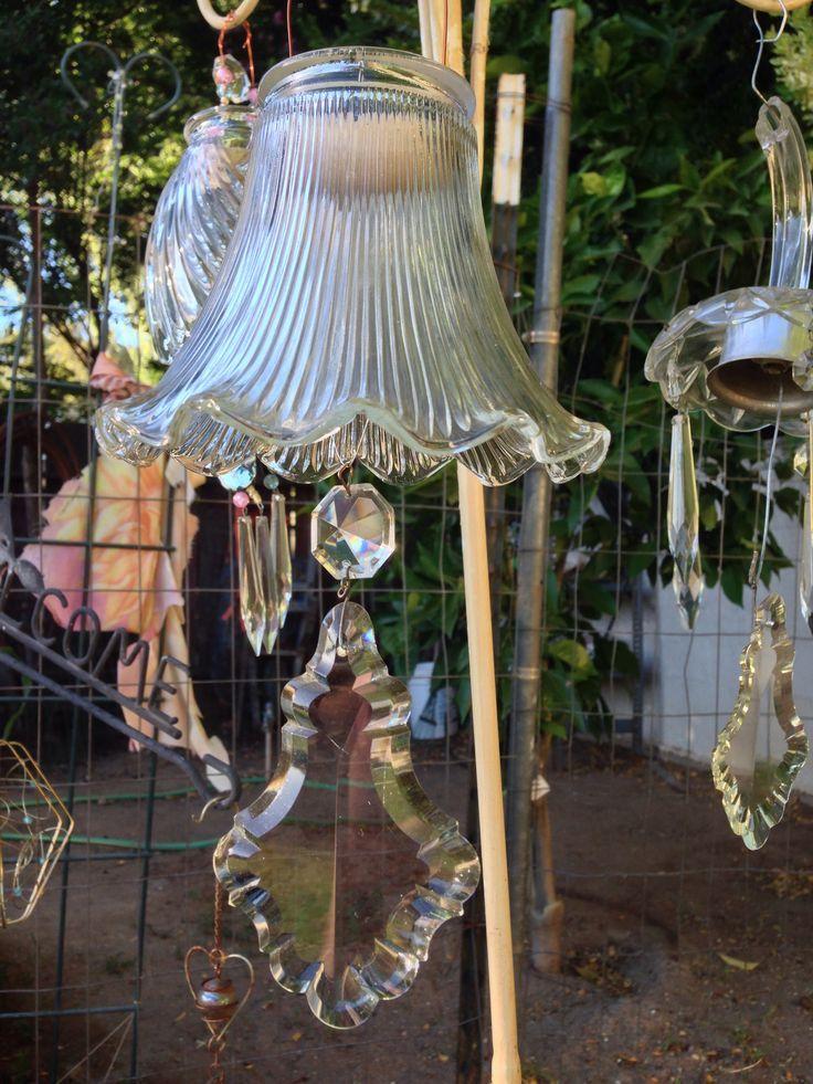Repurposed Chandelier Parts Glass Garden Art Wind Chimes Diy Wind Chimes