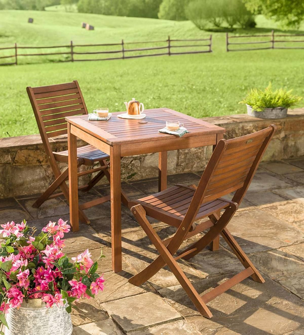 Eucalyptus Wood Outdoor Bistro Set Table And Two Chairs In 2020