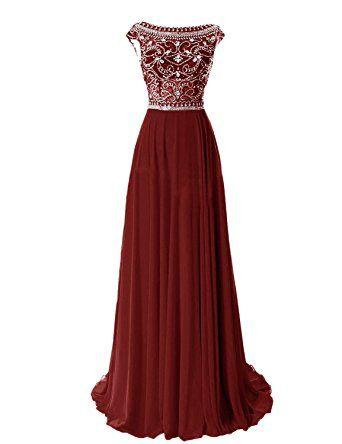 Erosebridal Damen Abendkleid Lang Chiffon Ballkleid mit Strass Burgund DE32