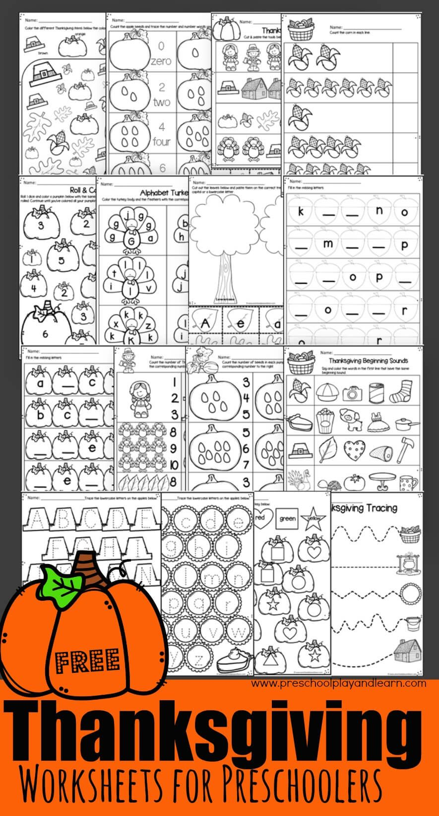 Free Thanksgiving Worksheets Practice Math And Literacy Skills With Thanksgiving Worksheets Thanksgiving Worksheets Kindergarten Thanksgiving Math Worksheets