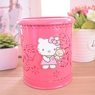 f9d2255ef Amazon.com : YOURNELO Cute Hello Kitty Hollow-Out Pen Pencil Holder Desk  Organizer Accessories (Rose Butterfly) : Office Products