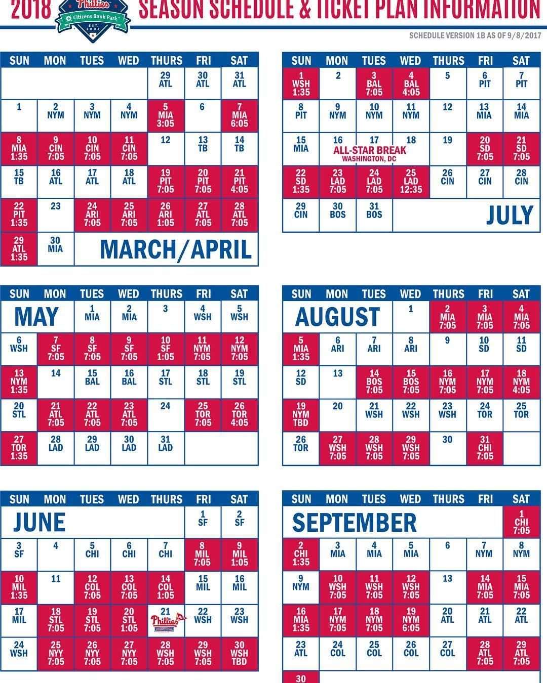 30 Days Baseball Fans Heres The Complete 2018 Season Schedule For The Philadelphiaphillies The Young Phillies Phillies Schedule Phillies Mlb Baseball Teams