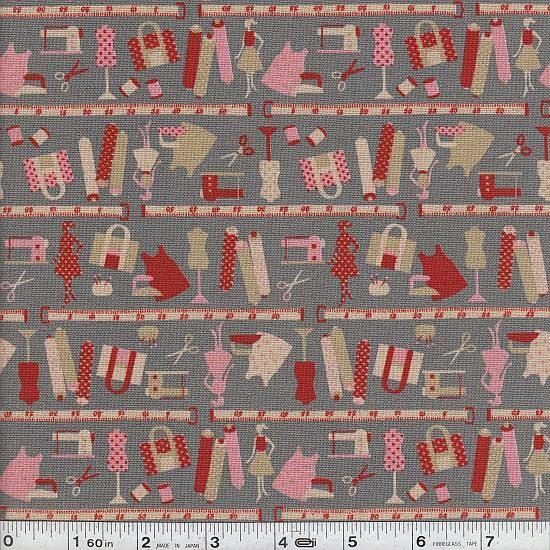 Retro sewing tools fabric