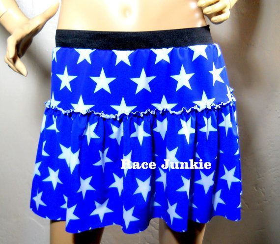inspired running skirt royal blue with white