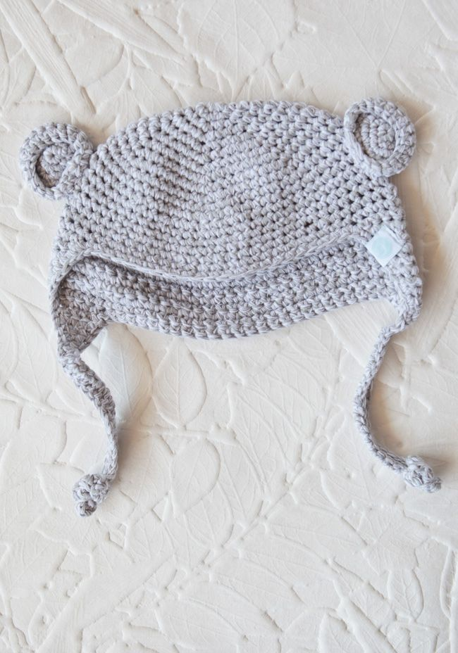 Crocheted Bear Hat In Gray | New Mom must haves newborns baby items ...