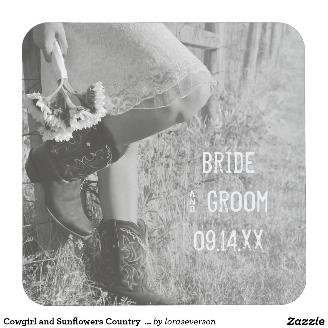 Cowgirl and Sunflowers Country  Wedding Square Paper Coaster