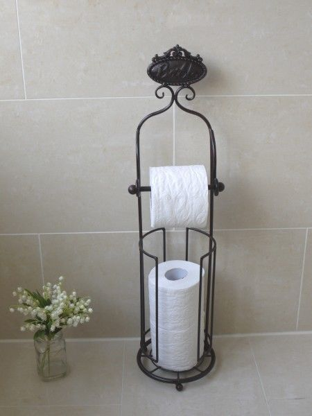 Antique French Vintage Style Black Free Standing Toilet Roll Holder With Storage Ebay
