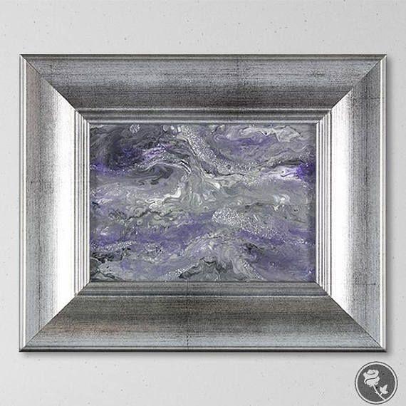 Purple And Gray Wall Art Silver Glitter Art Purple And Gray Art Purple Painting Small Art Small Paintings Abstract Grey Wall Art Purple Painting Painting