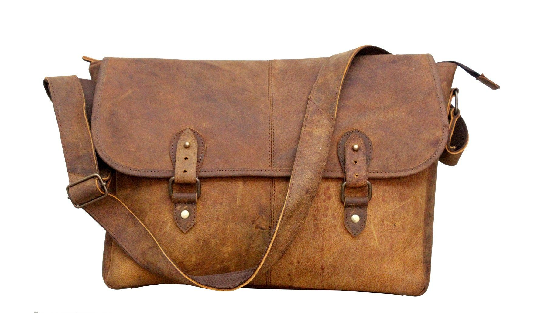 In India Real Buffalo Leather Regular Use Stylish Hunter Messenger Bag Fits Laptop Upto 15 6 Inches