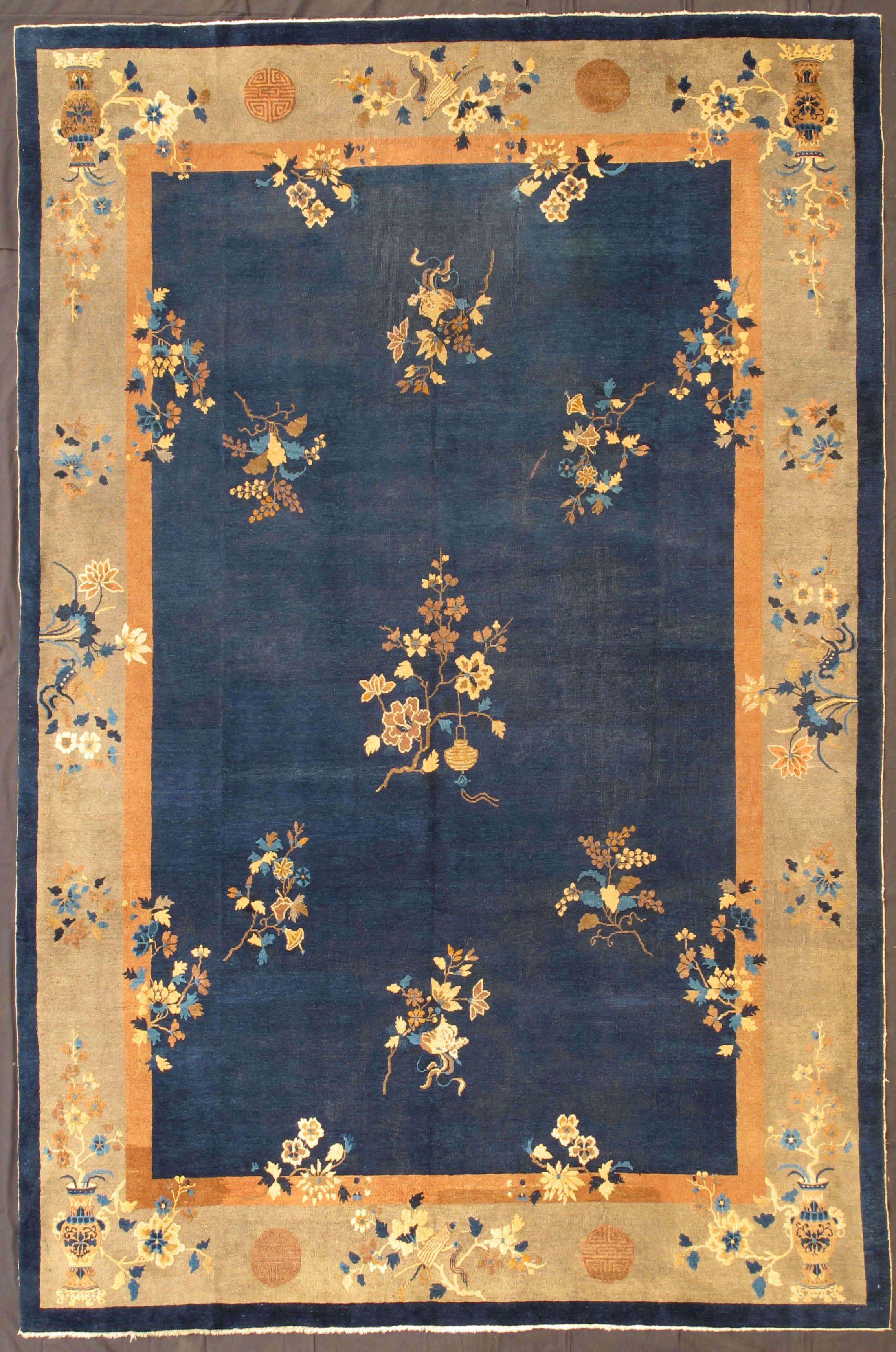 Chinese Art Deco Peking Wool Pile Rug Circa 1900 Art Deco Rugs